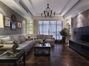 客厅为美式乡村风格,比较大气,257平,34万,混搭,别墅,客厅,