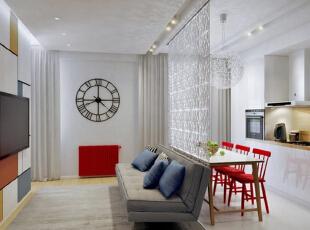 ,66平,5万,现代,公寓,客厅,白色,