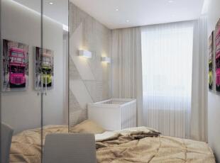 ,66平,5万,现代,公寓,卧室,白色,