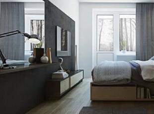 ,66平,5万,现代,公寓,卧室,黑白,