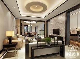 ,340平,3万,中式,别墅,客厅,黑白,