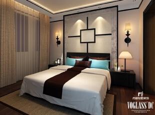 ,340平,3万,中式,别墅,卧室,原木色,白色,