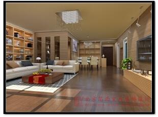 【效果图展示】:客厅整体墙面使用仿木纹材质的壁纸,让整体空间充满了温暖,同时保留了北欧的温润木作感。,140平,现代,两居,客厅,原木色,