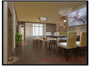 【效果图展示】:虽然增加了一个工作室空间,但是进门却仍然不会显得整体空间狭窄,仍然保留着那份大气品质,140平,现代,两居,餐厅,餐厅,黄色,