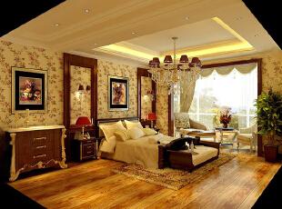 ,400平,20万,公寓,欧式,卧室,原木色,黄色,