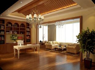 ,400平,20万,公寓,欧式,书房,原木色,