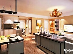 百子湾客厅效果图,92平,7万,现代,两居,客厅,餐厅,宜家,黄色,原木色,