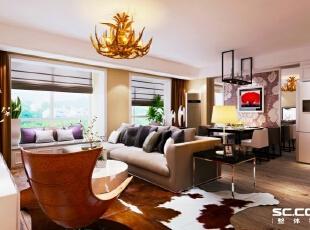 百子湾客厅效果图,92平,7万,现代,两居,客厅,宜家,黄色,