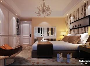 百子湾卧室效果图,92平,7万,现代,两居,卧室,宜家,黄色,白色,