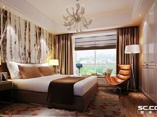 百子湾卧室效果图,92平,7万,现代,两居,卧室,简约,宜家,白色,黄色,