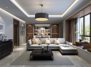 客厅角度一,116平,13万,现代,三居,客厅,白色,
