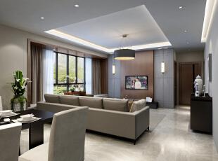 客厅角度二,116平,13万,现代,三居,客厅,白色,
