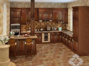 ,250平,35万,欧式,别墅,厨房,黄色,原木色,