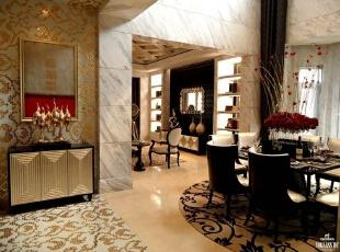 巴洛克风格于17世纪盛行欧洲,强调线形流动的变化,色彩华丽。它在形式上以浪漫主义为基础,装修材料常用大理石、多彩的织物、精美的地毯,精致的法国壁挂,整个风格豪华、富丽,充满强烈的动感效果。新巴洛克风格是巴洛克风格艺术生活的重生。本案例采用了新巴洛克风格,融合时尚潮流元素的设计,把极致浪漫与唯美艺术的淋漓的展现出来。,300平,160万,欧式,别墅,玄关,黄色,