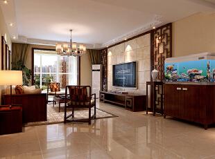 石家庄丽都河畔153㎡三室两厅户型新中式风格设计装修案例,153平,16万,中式,三居,客厅,黄色,原木色,