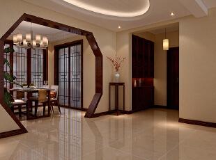 石家庄丽都河畔153㎡三室两厅户型新中式风格设计装修案例,153平,16万,中式,三居,餐厅,玄关,黄色,原木色,