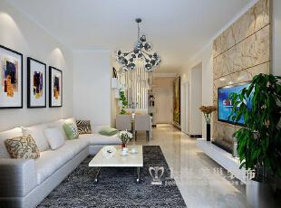 天地湾87平现代简约装修三室样板间案例——客厅视角效果图,87平,8万,现代,三居,