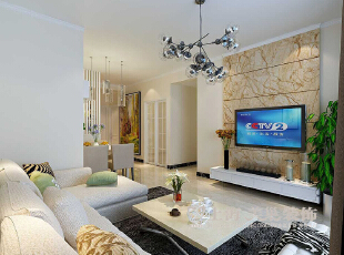 天地湾4期87平小三室装修现代简约效果图案例——电视背景墙,87平,8万,现代,三居,