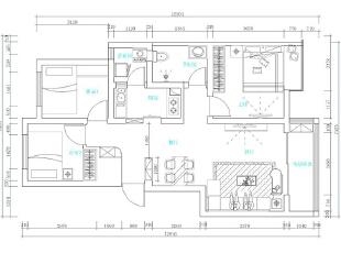郑州天地湾四期87平三室两厅装修现代简约案例效果图——户型平面布局方案,87平,8万,现代,三居,