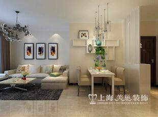 天地湾87平装修现代简约三室两厅效果图案例——客餐厅全景布局,87平,8万,现代,三居,