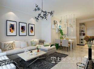 天地湾87平小三室装修现代简约样板间效果图集——客厅沙发布局,87平,8万,现代,三居,