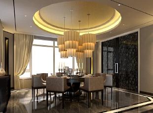 餐厅将传统东方元素的形之磊磊大度、意之含蕴深远与现代追求功能、时尚等特点完美融合,东方智慧与现代生活相互碰撞与融合,让文化内涵渗透入别墅空间设计。将空间的实用性、艺术性、美观性融为一体,创造当代优雅生活。,235平,100万,现代,别墅,