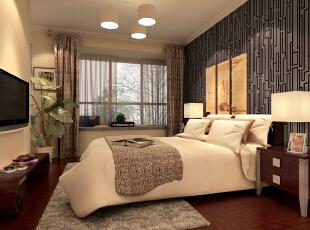 怡海花园135平简约新中式-主卧室把风格标志性纹样壁纸作为背景墙装饰,床和床头柜就要相对稳重一些,以此来互为补充,整个空间更加出彩。,135平,10万,中式,三居,卧室,现代,简约,白色,原木色,红色,