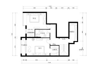 怡海花园135平简约新中式-二层平面布置图,135平,10万,中式,三居,