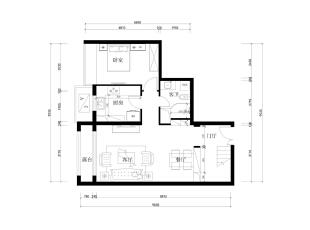 怡海花园135平简约新中式- 一层平面布置图,135平,10万,中式,三居,