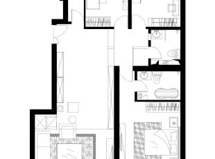 首创伊林郡92平温馨田园三居室-平面布置图,92平,8万,现代,三居,