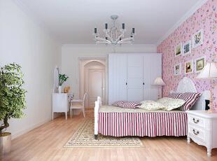 首创伊林郡92平温馨田园三居室-卧室,92平,8万,现代,三居,卧室,简约,小资,白色,粉色,
