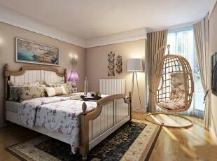 首创伊林郡92平温馨田园三居室-卧室 整体设计采用的颜色大胆而统一,大多采用咖啡色,米色,棕色,淡绿,蓝,为主,在家具、造型的搭配和白色基调的衬托下,色彩丰富而稳重。,92平,8万,现代,三居,卧室,简约,欧式,白色,原木色,