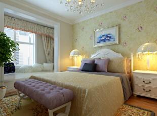 福海棠华苑90平欧式田园二居室- 卧室设计以浪漫为主,简欧的白色家具,床头以淡紫色印花壁纸为背景,阳台做成休闲的地台,不但增加了储物空间,而且配以羊毛地毯和温馨靠枕点缀少女的浪漫空间,充分渲染了公主房的高贵与浪漫.....,90平,8万,欧式,两居,卧室,现代,简约,白色,原木色,黄色,