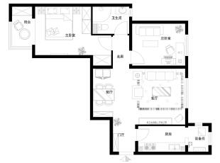 福海棠华苑90平欧式田园二居室-平面布置图,90平,8万,欧式,两居,