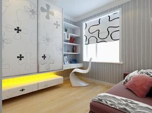 色彩搭配:整体空间色彩以黑白灰色为主,加了暖色灯光。,89平,5万,现代,两居,