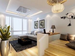 设计理念:玄关处及客厅出均做了石膏板吊顶以增加居室层次感,并在休闲区及玄关区吊顶处铺贴了马赛克,以增加居室趣味性与时尚感。 亮点:电视背景墙采用了中间壁纸,边框马赛克的形式,采用水晶吊灯彰显大气。,98平,6.7万,现代,两居,