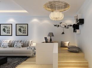 设计理念:客厅一角应主人要求特意加了休闲区,以抬高地台得以区分,分隔以砖墙刷涂料来做,体现自然淳朴的设计风格。 亮点:地台上方的马赛克与电视背景墙的相同,清新淡雅而不是时尚感的风格在这里融会贯通。,98平,6.7万,现代,两居,客厅,