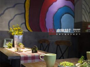 鲜嫩的多肉植物点缀其中,愉悦了人们的视觉。,28平,6.6万,混搭,Loft,餐厅,灰色,