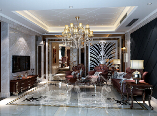 ,380平,45万,新古典,别墅,客厅,