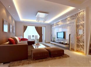 芍药居北里92平简约二居室-客厅的主要视觉中心是电视背景,避免空间暗淡,运用的材料为暗花玻璃和大理石材料,简洁大方,配合沙发背景墙的壁纸与沙发呼应、红白的靠枕、绒毛地毯、茶几等让你忙碌的心可以放松安静的休憩在这个喧闹的大都市。,92平,8万,欧式,两居,客厅,现代,简约,白色,原木色,黄色,