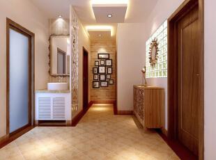 芍药居北里92平简约二居室-门厅 因为没有可以改动的墙体,在空间功能格局划分上还是运用原本格局,但是为了不使门厅过道显得单一,地面选择运用斜铺,尽头的天然石材做铺垫,给人一种错乱而尊现大气的感觉,加上卫生间门口的屏风,叫门厅的整体效果达到了最理想状态。,92平,8万,两居,客厅,现代,简约,欧式,白色,原木色,黄色,