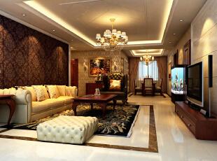 八里庄北里97平欧式三居-客厅 客厅沙发背景墙有一通往卧室的门,我把门做成了隐形门,这样客厅的感觉更加宽敞大气。在主卧的空间里我在床头背景墙做了一些软包,这样会使卧室温馨舒适的气氛。,97平,9万,欧式,三居,客厅,黄色,红色,原木色,白色,