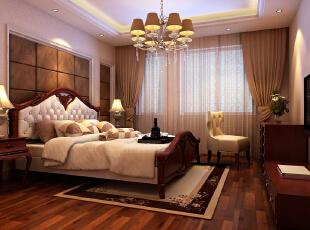 八里庄北里97平欧式三居-卧室 卧室的整体格局没有大的变动,在后期配饰上做的比较细致。,97平,9万,欧式,三居,卧室,原木色,红色,