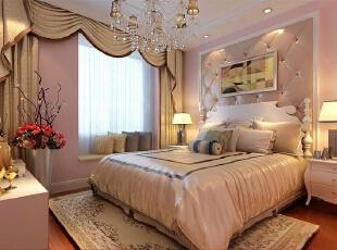 曙光花园95平简欧大两居-卧室 无论是雕花艺术玻璃的点缀还是流线造型的烘托,无论是柔和灯光的渲染还是丰富色彩的运用都则体现出了主人对生活的热爱。,95平,8万,欧式,两居,卧室,现代,简约,白色,粉色,