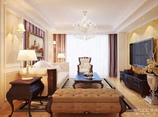 客厅地面大地砖通铺,简单大方,色彩温和,加欧式的家具。,87平,6万,现代,两居,
