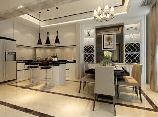 开放式厨房很好的运用黑白的色调把主人的时尚感和整体的大户人家的很好的衬托出来,酒柜的设计运用装饰镜面,很好的把餐厅客厅融为一体,倒台的黑白搭,华丽不缺的时尚感。,185平,13万,现代,跃层,