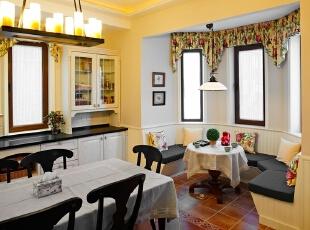 ,360平,120万,现代,一居,厨房,客厅,餐厅,黄色,