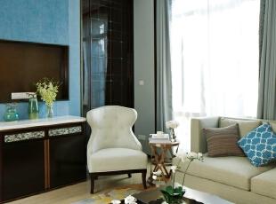 ,605平,64万,简约,别墅,客厅,蓝色,白色,
