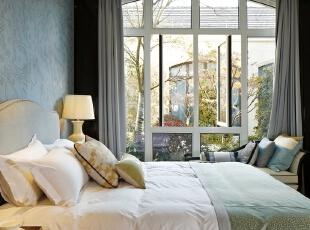 ,605平,64万,简约,别墅,卧室,蓝色,白色,