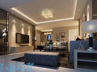 ,129平,10万,现代,三居,客厅,黑白,